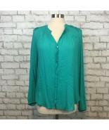 Daniel Rainn Anthropologie Women's Green V-Neck Boho Hippie Shirt Size L... - $17.99