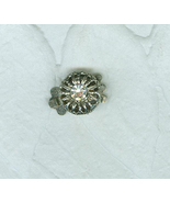 Rhinestone Centered Silver Metal Flower Clasp Single Strand Signed Srah ... - $5.00