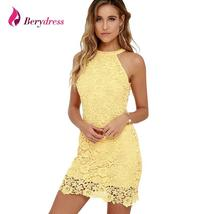 Sexy Night Club Halter Neck Sleeveless Sheath Bodycon Lace Dress - $52.95