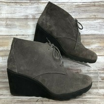 White Mountain Womens 7.5M Kahlua Ankle Boot Gray Suede  Wedge Heel Lace Up - €34,27 EUR