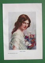LOVELY MAIDEN Bouquet of Flowers - COLOR Print Antique - $12.60