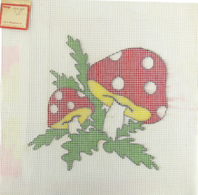 1970's Hand Painted Needlepoint Strawberry Mushrooms Plants 6-CT Canvas - $25.38