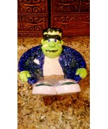 CERAMIC HALLOWEEN FRANKENSTEIN MONSTER CANDY BOWL HAND-PAINTED ANDROS IS... - $17.82