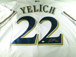 CHRISTIAN YELICH / AUTOGRAPHED MILWAUKEE BREWERS PRO STYLE BASEBALL JERSEY / COA image 1