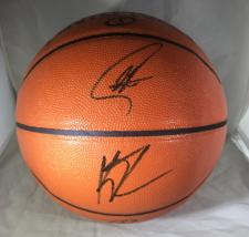 STEPH CURRY & KLAY THOMPSON / DUAL AUTOGRAPHED NBA LOGO FULL SIZE BASKETBALL COA image 1