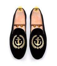 Handmade Men's Black Fashion Embroidered Slip Ons Loafer Velvet Shoes image 2