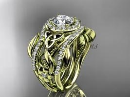 Moissanite Two Band, Yellow Gold Diamond Celtic Trinity Knot Bridal Set CT7300S - $3,375.00