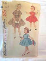 "Simplicity 1701 Vtg 1950's Girls  Dress and Cape SZ 2 Chest 21"" - $10.00"