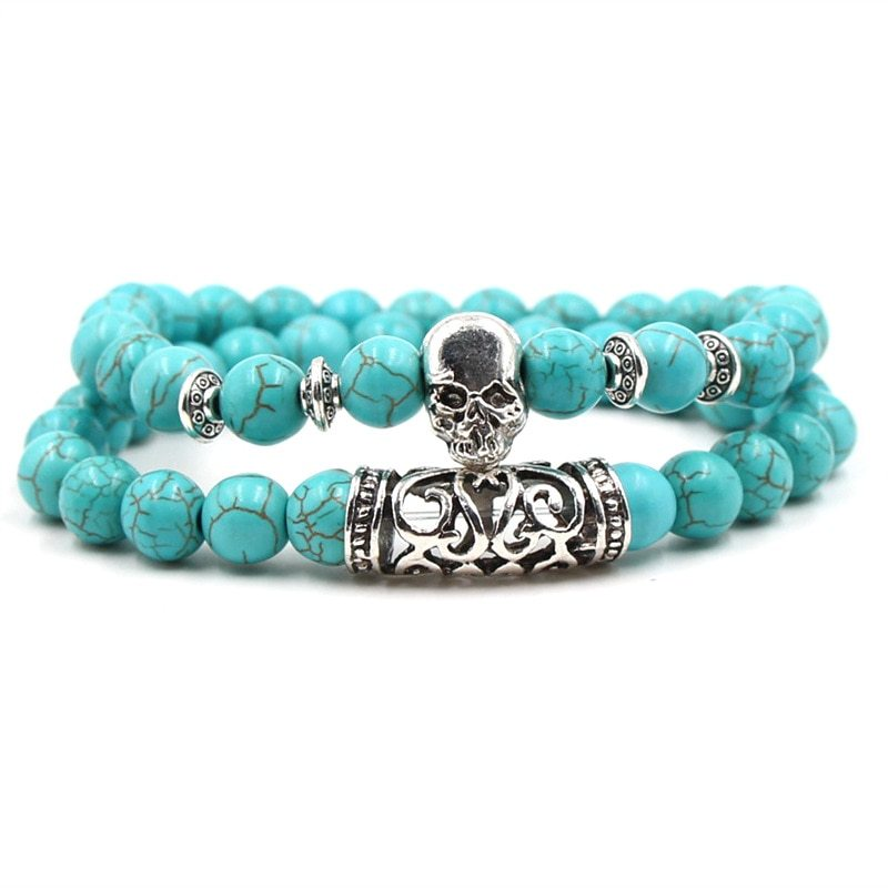Primary image for KMVEXO 2PCS/Set Silver Color Buddha Head Lava Skeleton Turquoises Natural Stone