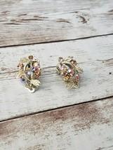 Vintage Lisner Clip On Earrings Gold Tone & Aurora Borealis Leaf & Berries - $12.99