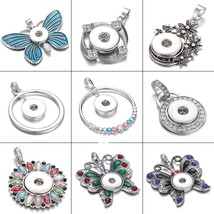2019 New Snap Jewelry  Flower Crystal Pendants Jewelry Fit 18mm Snap Button Neck - $9.91