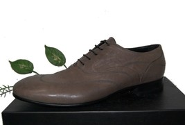 Emporio Armani Gray Olive Leather Men Italian Lace Shoes Size US 12 EU 4... - $242.54