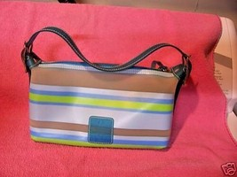 Liz Claiborne Jelly plastic Blue Striped Purse Handbag CUTE - $16.61