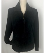 Fabio Suede Leather Zip Up Cardigan Jacket Blazer Light Coat Knit Sleeve... - $39.59