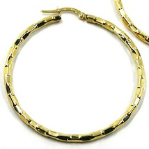 18K YELLOW GOLD CIRCLE HOOPS PENDANT EARRINGS, 4.5 cm x 3 mm WORKED CHECKERED image 2