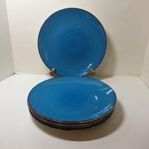 "5 Dinner Plates Royal Norfolk Turquiose Swirl Brown Trim 10.5"" - $24.18"