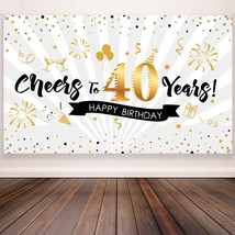 40th Birthday Party Decoration, Extra Large Fabric Black Gold Sign Poste... - $22.99