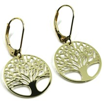9K YELLOW GOLD PENDANT EARRINGS, FLAT TREE OF LIFE, DISC DIAM. 17 MM, LEVERBACK image 2