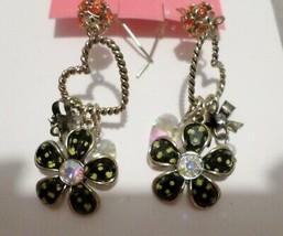 Betsey Johnson Antique Gold Tone Polka Dot Flower Heart Drop Earrings Nwt - $14.52