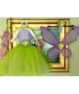 8 PC Set Green Purple TinkerBell Costume Tutu Fairy Wing Pixie Bell Birt... - £21.58 GBP