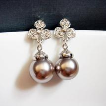 Orchid Pearl Earrings - Platinum Flower Bridesmaid Gift - $33.00
