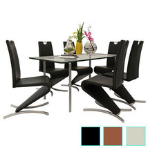 Set of 2 Modern Dining Chairs Cantilever Chair w/H-shaped Foot Black/Bro... - $125.99