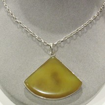 """Large Sterling Silver Butter Scotch Agate Stone Pendant 16"""" Necklace  33... - $36.61"""