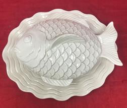 Vintage Fitz & Floyd Fish Ceramic Baking Bowl and Plate 1976 DAMAGED - $33.65