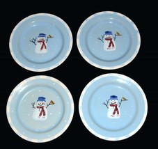 4 Crate & Barrel Hartstone Stoneware SNOWMAN Single Check HVY Salad Plates EXC - $24.99