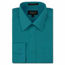 Omega Italy Men's Long Sleeve Solid Regular Fit Teal Dress Shirt - 2XL