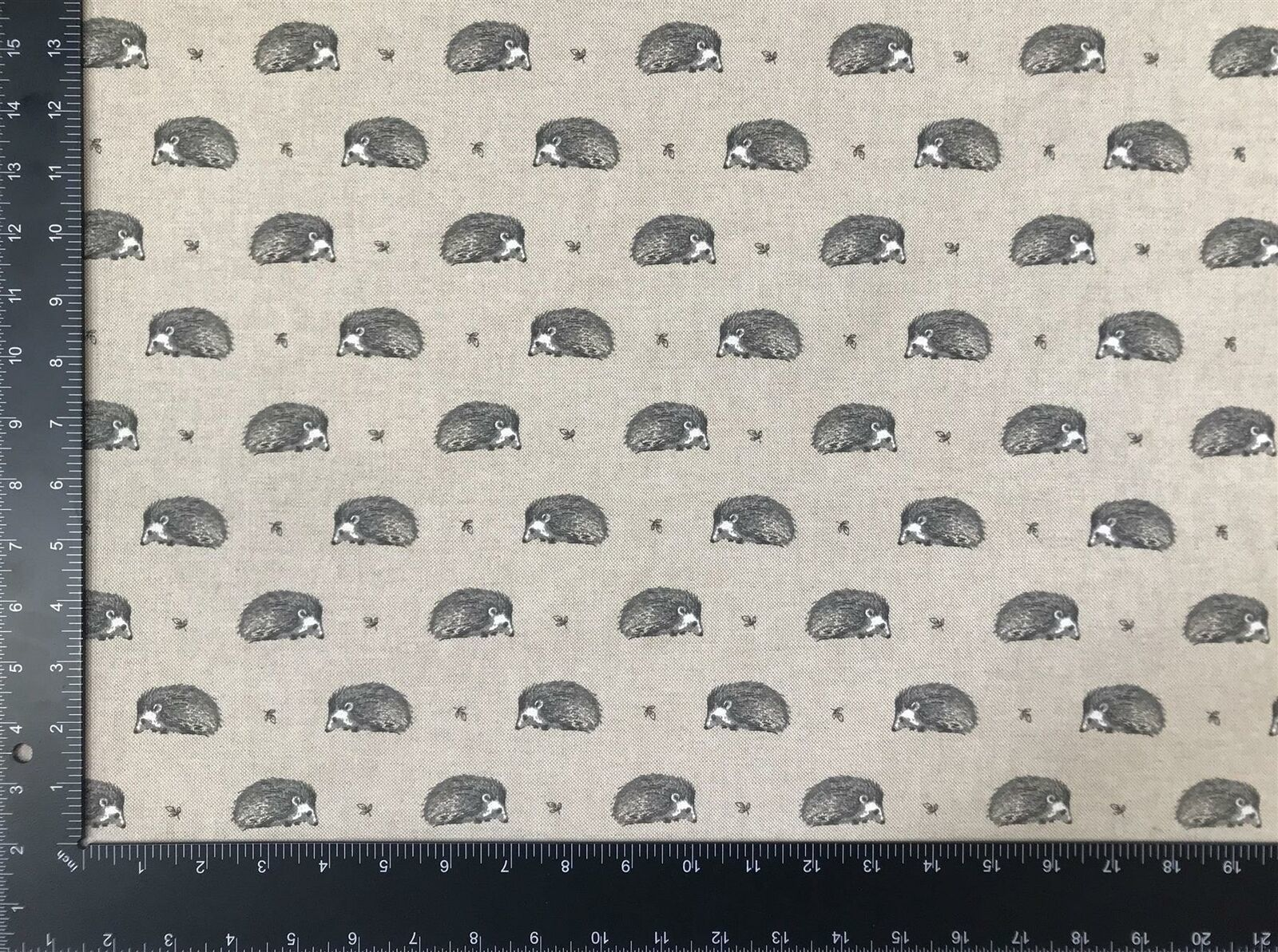 Vintage Hedgehog Grey Linen Look High Quality Fabric Material 3 Sizes