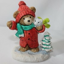 Enesco Teddy Bear with Mouse Scarf Winter Tree Resin - $7.88