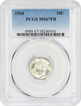 1934 10c PCGS MS67 FB - Mercury Dime - $480.15
