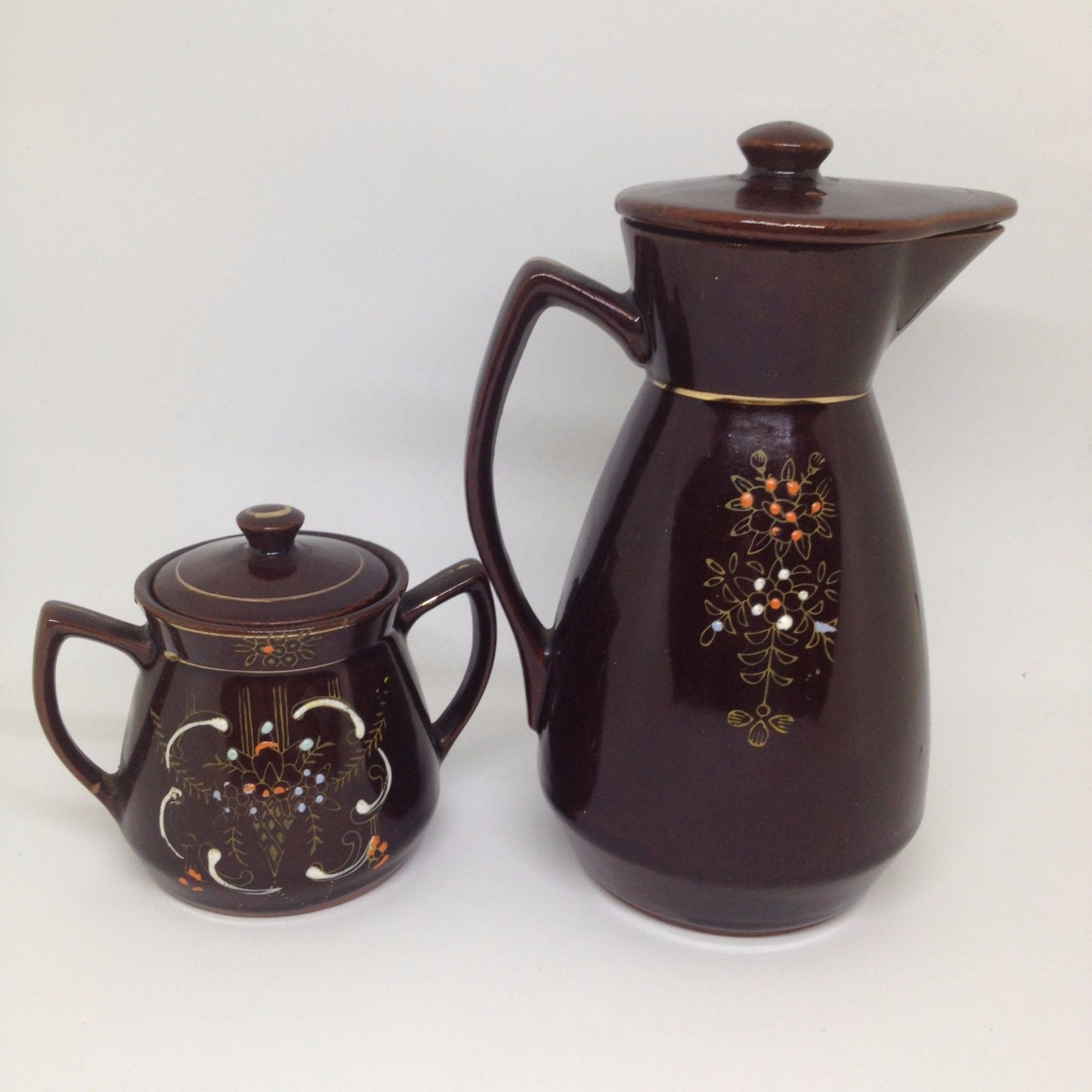 VTG Mid Century Japan Set Brown Orange Coffee Creamer & Sugar Bowl Hand Painted?