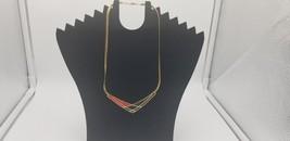Vintage Signed Avon 1980s Black & Red Enamel Wing Shaped Gold Tone Choke... - $9.62
