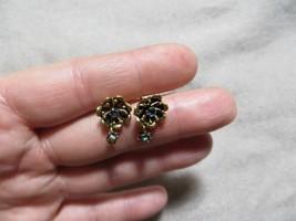 Antq. Victorian 14k Yellow Solid Gold Flower Sapphire Dangle Drop Stud Earrings - $289.99