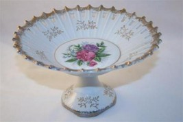 Porcelain Pierced Edge Floral with Gold Trim Compote - $26.00