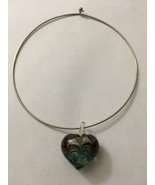 "Glass 1.5"" Heart Choker Necklace 15"" Diameter Clear W/ Black & Turquoise - $8.55"