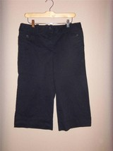 W7137 Womens ANN TAYLOR LOFT Marisa Black Stretch Cropped Pants CAPRIS sz 8 - $14.50