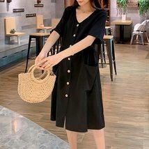 Maternity's Dress V Neck Short Sleeve Loose Solid Color Dress image 5