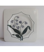 GIEN France Small Plate Muguet Lily of the Valley Square Hand Painted - $18.80