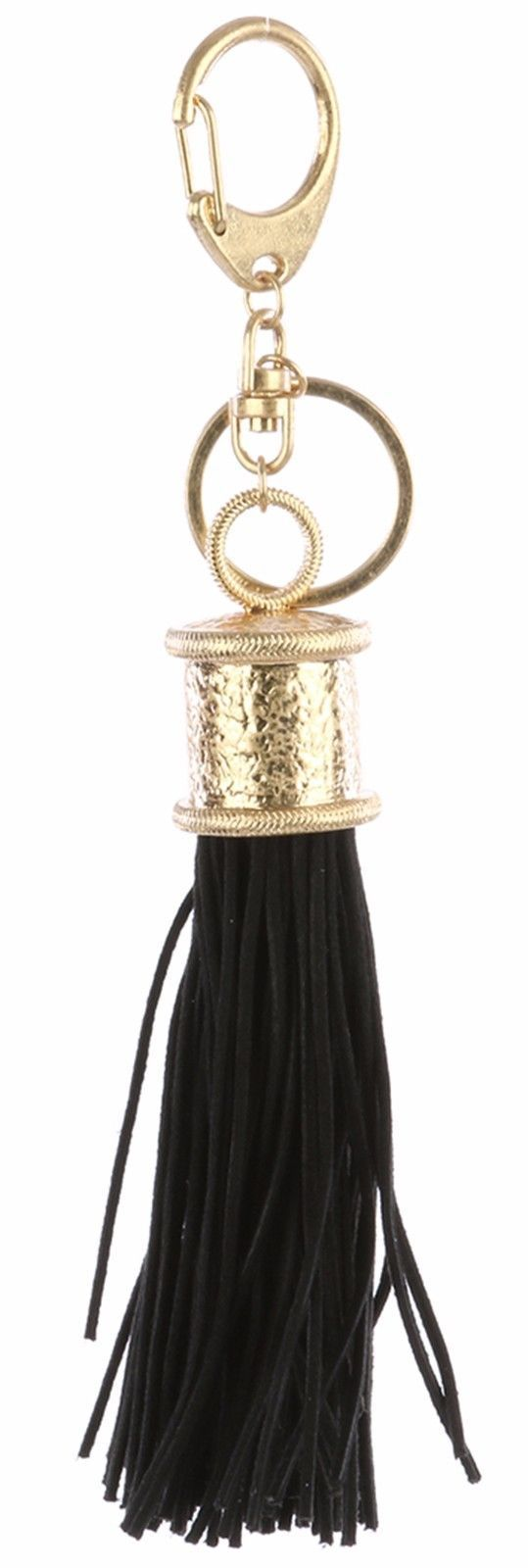 Tassel Key Chain Handbag Charm Accessory Key Fob Charm Claw Hook Goldtone Black