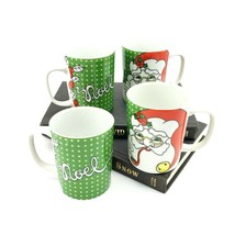 Vintage Fitz and Floyd Variations Christmas Mug - Santa Face & Noel - Set of 4 - $29.44
