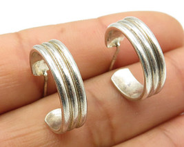 925 Sterling Silver - Vintage Ribbed 3-Tube Design Stud J-Hoop Earrings - E3523 - $35.11