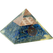 Lapis with Copper Spiral and Pyramid Grid Orgonite Pyramid! - $24.95