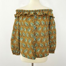 J Crew Size 2 Ratti Elephant Print Off the Shoulder Button Up Top Green ... - $24.96