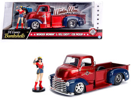 "1952 Chevrolet COE Pickup Truck Red and Blue with Wonder Woman Diecast Figure "" - $40.90"