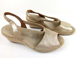 7bfd0ae102ec Clarks Artisan Petrina Lulu Womens 6 Leather Gold Espadrilles Wedges Sandals   85 -  17.27