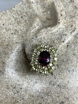 Vintage Red Garnet Peridot Earrings 925 Sterling Silver Deco - $122.73