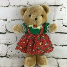 Vintage Christmas Teddy Bear Plush In Pinafore Dress Classic Stuffed Animal Soft - $19.79